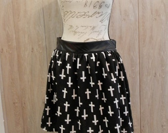 Cross Print Skirt, Black and White, Gothic, Emo - Ready to ship