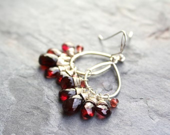 Garnet Earrings Chandelier Dangle Red Gemstone Earrings Sterling Silver Romantic Jewelry