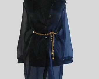 Vintage sheer dress coat/ Navy Blue