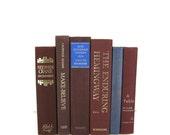 Burgundy Maroon Blue Decorative Books , Old  Book , Decorative Book Set , Photo Prop ,  Wedding Book Decor , Book Lover Set , Home Decor