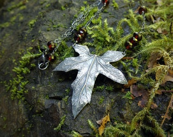 Bryonia, Bryony - Larger Leaf with Garnet, Fine Silver Statement Necklace  by Quintessential Arts