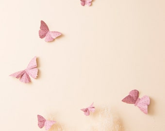Pink Butterfly Wall Decals, Paper Butterflies Nursery Wall Decor