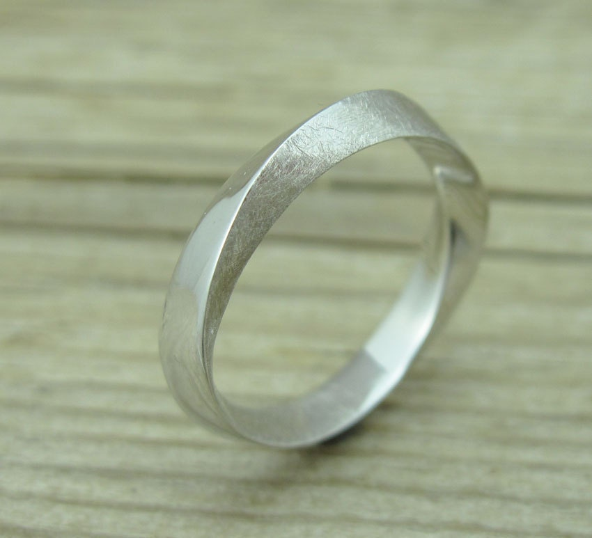 mobius wedding band with scratched texture 4 5mm mobius by