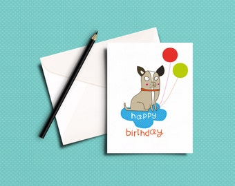 Dog birthday card - Chihuahua birthday card - greeting card - happy birthday