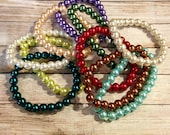 Pearl Bracelet Set, Lot of 10 Pearl Bracelets, Multi Color Bracelet Set, Pearl Bracelets