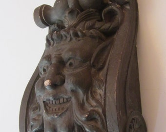 Gothic Brooklyn Studio Gargoyle - Chippy Chalkware - Greek Mythology Faun Pan - Plaster Bookend or Wall Hanging