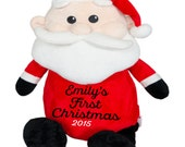 Adorable Personalized Stuffed Santa Christmas Child or Baby