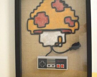 Super Mario Mushroom In Color - Nintendo NES Wall Art Shadow Box