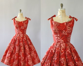 Vintage 50s Dress/ 1950s Cotton Dress/ Alfred Shaheen Red Hawaiian Print Cotton Dress w/ Shelf Bust XS/S