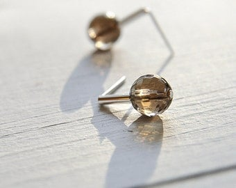Faceted smoky quartz stud earrings stone jewelry minimalist earring sterling silver modern stone in gift for women gift for her best friend