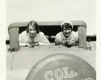 "Vintage Photo ""Backseat Pilots"" Girls Car Window Snapshot Photo Antique Photo Black & White Photograph Found Paper Ephemera Vernacular - 146"