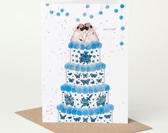 Pug Wedding Card, Pug Civil Ceremony Card, Mrs & Mrs // lesbian wedding card, tattoo wedding card, tying the knot, congratulations, confetti