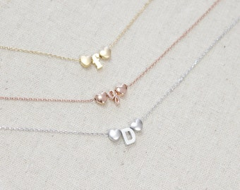 Double Heart Initial Necklace | Flower Girl Necklace | Wedding Gift | Custom Wedding Gift | Personalized | Best Friends |