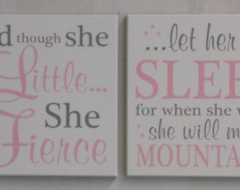Nursery Signs - Two Signs: She is Fierce, She will move Mountains - LARGE Wall Sign - Painted White, Light Pink & Gray - Girl Nursery Art