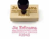 Custom Address Rubber Stamp - Modern Style Packaging Return Address - Wood Mounted Rubber Stamp - Unique Wedding Housewarming Realtor Gift
