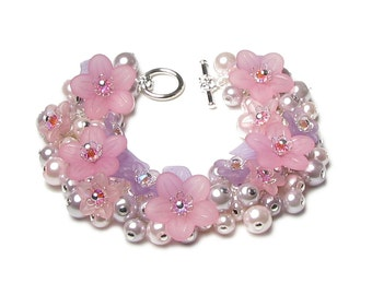 Pink Acrylic Flower Pearl Cluster Charm Bracelet Pastel Purple Lavender Lilac Jewelry Round Glass Beads Pretty Fantasy Fairy Gifts For Women