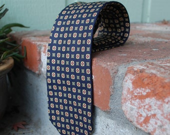 Vintage Brooks Brothers All Silk Blue and Tan Floral Pattern Necktie Tie Made in the USA Classic Designer Preppy Wedding Mad Men Dressy