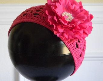 "Hot Pink Crocheted Beanie Hat for 3-5Yr w/ 4"" Hot Pink Silk Flower & Rhinestone Pearl Center on Alligator Clip Photo Prop Portraits Birthday"