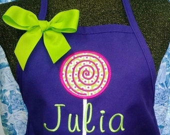 Personalized Kids Apron Childs Apron Lollipop Applique Monogrammed