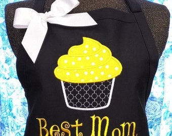 Apron Personalized Best Mom with Cupcake Design
