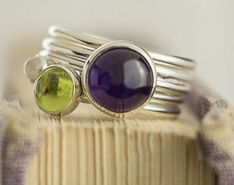 Stackable mothers ring - Amethyst ring - Stackable rings - Stacking Ring - Peridot Ring - Gemstone Ring - Sterling Silver Stacking Ring