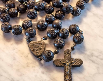 "Antique French Wall Rosary, Large Carved Wood Beads, St Joseph, 47"" Long, Ebony Wood"