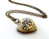 Engraved Solid Brass Heart Locket with Cog & Dragonfly - Steampunk Inspired