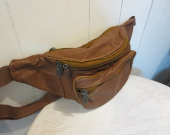 Vintage Brown Leather Fanny Pack - Tinder Brand Leather Bum bag Waist Pack Hip Pack