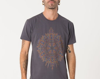 Grey Psychedelic T-shirt, Mens Tee, Screen Printed Shirt, Mens Apparel, Uv Reactive, Mandala, Sacred Geometry Clothing