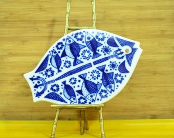 Mid Century Modern Ceramic  Fish Porcelain Porsgrund Norway Trivet Blue and White