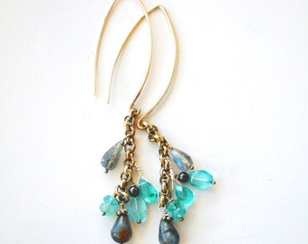 Gemstone Dangle Earrings - Long Silver Boho Earrings - Apatite and Labradorite Earrings- Hand forged earrings