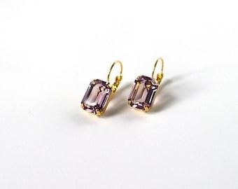 Light Purple Crystal Earrings, Light Amethyst Swarovski Crystal Earring, Rhinestone, 18th Century, Georgian Paste Purple Swarovski Earring