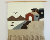 Woven Wool Tapestry Textile Wall Hanging Beach Scene