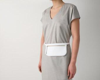 Fanny Pack White Leather, Flat Belt Bag, Hip Bag, Hip Poch, Travel Bag, Festival Bag, White Belt Bag