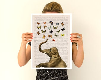 Elephant with butterfly  art, Elephant  print , Nursery wall art, Wall decor Gift her,Giclee elephant poster ANI088PA3