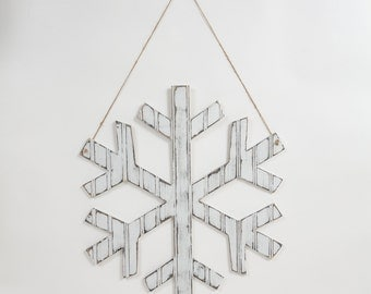 "12"" Wooden Snowflake, Distressed White Bead Board, Christmas and Winter Decor"