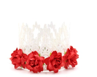 NEW    Mary Poppins inspired    mini Sienna lace crown headband    white with red roses