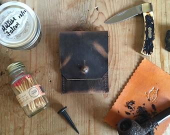 Slim Wallet - Front Pocket Wallet - Minimalist Wallet - Oil Tanned Bison Leather - Bark Brown - Made in USA