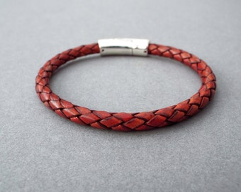 Mens Leather Bracelet, Braided Leather, Boyfriend Gift, Men's Leather Jewelry, Jewelry for Him