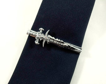 Tie Clip Tie Bar,  Large Silver Sword Pendant  Mens Accessories Handmade