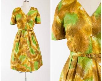 Vintage 50s Dress • Among Birds • Green Yellow Feather Cotton 1950s Day Dress Dress Size Medium