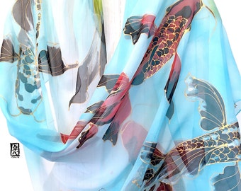Hand Painted Silk Shawl, Gift for her, Red and Black Koi, Silk Scarf Blue, Tranquility Japanese Koi Scarf, Silk Chiffon scarf, 22x90 inches.
