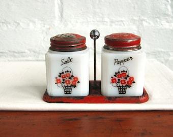Milk Glass Salt and Pepper Set Vintage Kitchen Red Flower Basket Metal Carrier Primitive Farm Country Table