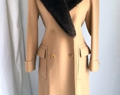 Vintage Isaac Mizrahi Couture Merino Wool Coat with Sheared Mink Collar Size 2P