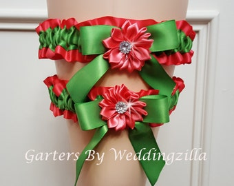 Wedding Garter Set Coral Appletini Green  / Appletini and Coral  Bridal Garter/ Wedding Garter Belt, Flower Garter Set
