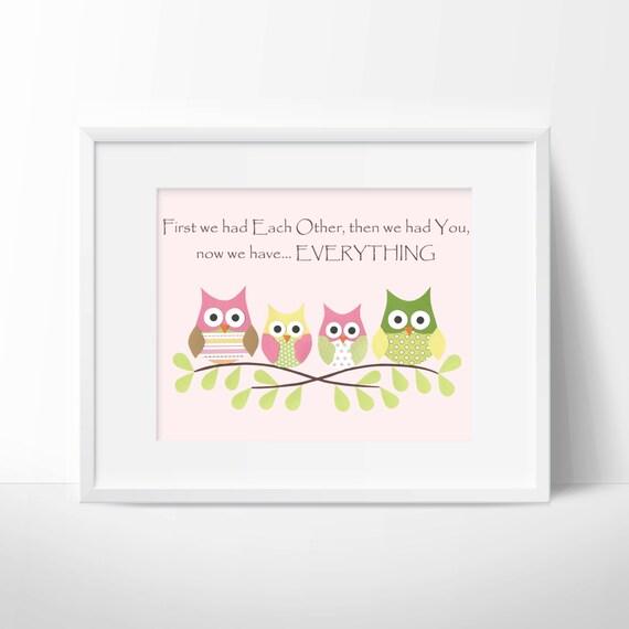 Owls- First we had each other, Nursery or children artwork, decoupage, pink, green, yellow, brown, bird, tree branch
