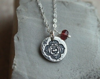 1st Chakra Necklace- Root Chakra, Garnet