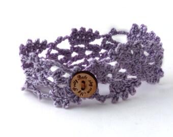 Crochet Bracelet - Crochet Cuff - Crochet Cuff Bracelet - Vegan Bracelet - Vegan Jewelry - Cruelty Free - Boho Jewelry - Lilac Bracelet