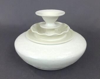 """Ceramic Jar in White and Matte White. 4 1/2"""" T x 6"""" W. Ceramics & Pottery. Handmade. Stoneware. Vessel. Container. Home decor."""