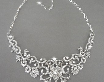 Crystal bib necklace ~ Silver ~ Bridal jewelry ~ Crystal rhinestone necklace, Wedding necklace ~ Brides necklace~Statement necklace ~ALEXIS